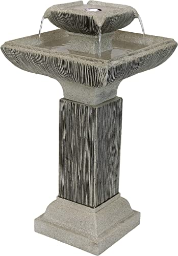 high quality Sunnydaze Square 2-Tier lowest Outdoor discount Bird Bath Water Fountain with LED Lights and Electric Submersible Pump, 25-Inch outlet sale