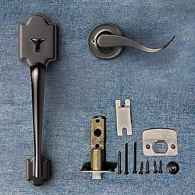 Narpult Front Door HandleSet Entry Door Handle, Single Cylinder Deadboltand LeverSet for Right Sided Doors Heavy Duty