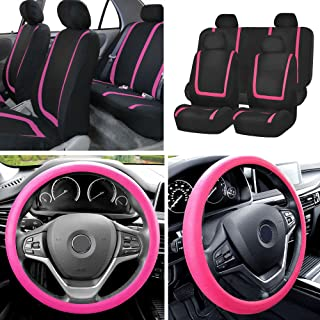 FH Group FB032114 Unique Flat Cloth Full Set Car Seat Covers w. Silicone Steering Wheel Cover, Pink/Black Color- Fit Most ...