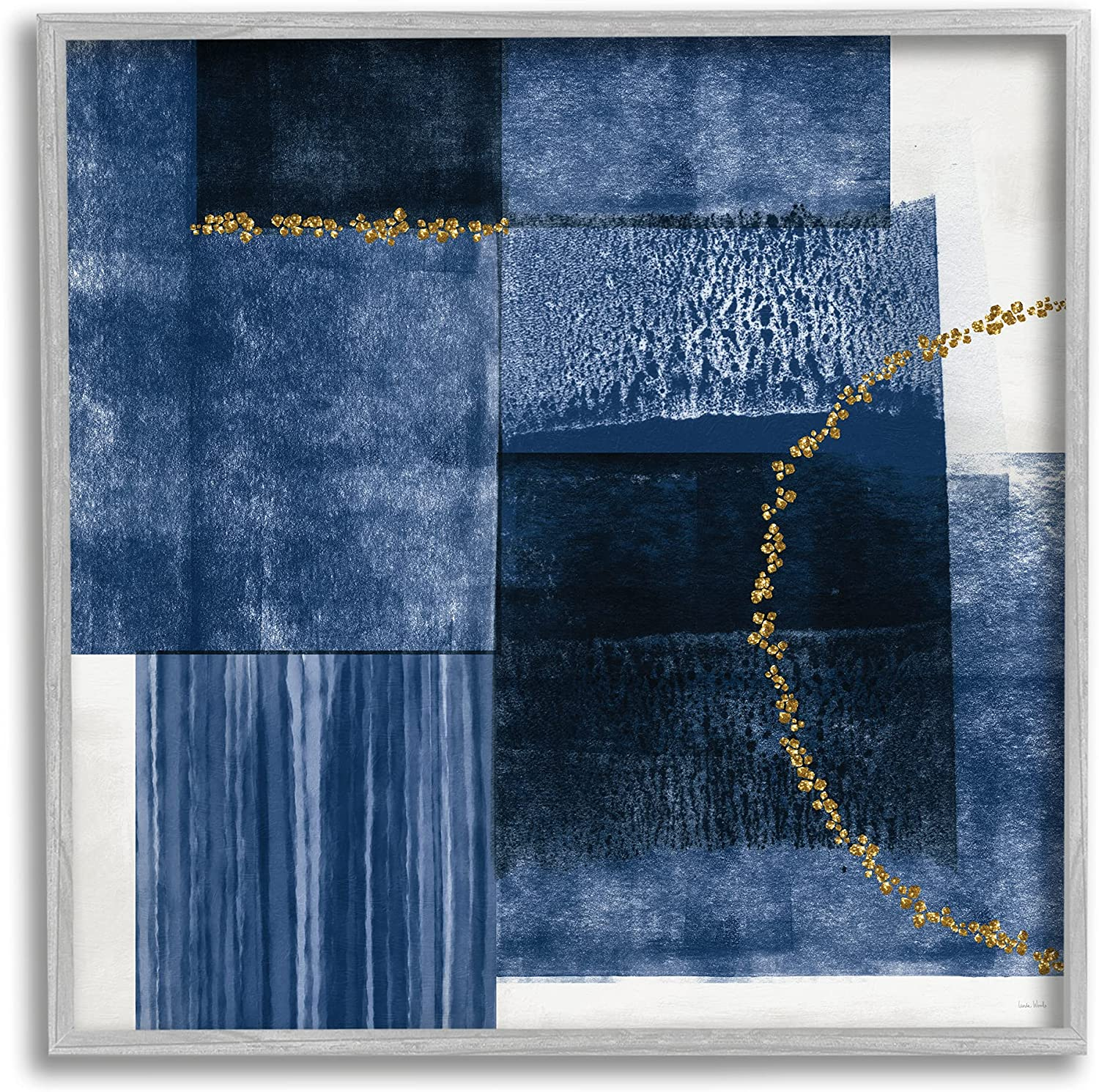 Stupell Industries Layered Blue Rectangle Shapes Gold Curve Abstraction, Designed by Linda Woods Gray Framed Wall Art