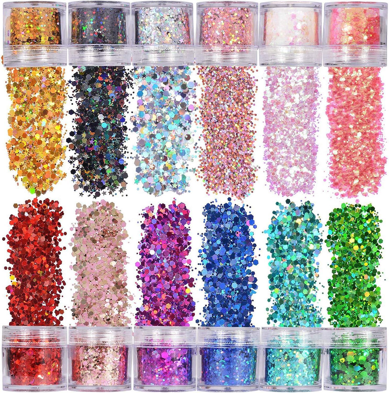 XUBX 12 Cajas 10ml Purpurinas Polvo, Chunky Glitter Flakes Paillette, Brillante Decoración Brillo Corporal para Cara Cuerpo,Brillo de uñas,Brillo de Cosméticos de Maquillaje para Festival Música