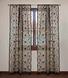 Hana Sheer Embroidered Floral Organza Voile Rod Pocket Curtain Panels (Set of 2) 52x95-in, Brown/Blue/Ivory
