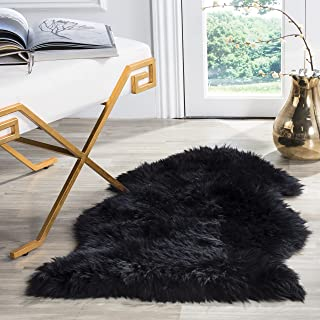 Safavieh Sheepskin Collection SHS121C Genuine Sheepskin Pelt Midnight Black Premium Shag Rug (2' x 3')