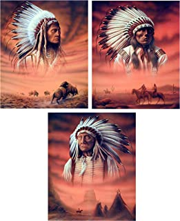 Native American Indian Chief Picture Three Set 8x10 Wall Decor Art Print Posters