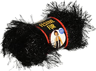 Lion Brand Yarn 570-153 Festive Fur Yarn, Black