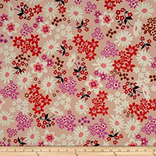 Cotton + Steel Playful Lawn Vintage Floral Fabric by The Yard, Pink