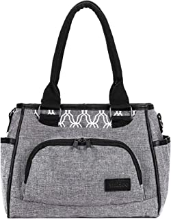 AmHoo Reusable Lunch Bag Waterproof Cooler Bag Insulated Lunch Box Picnic Women Top Handle Satchel Handbags Stylish Adult 10L Lunch tote Bag for Work,School-Best YKK Zipper,Gray