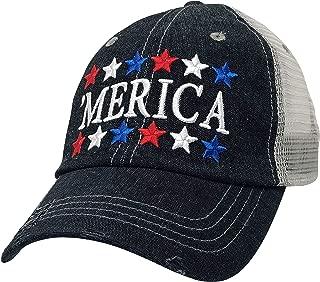 Merica America USA Embroidered Baseball Hat Mesh Trucker Style Hat Cap Dark Grey