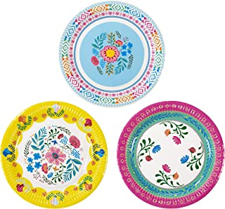 Talking Tables M Boho Floral Tea Party Plates, Pink Blue Yellow