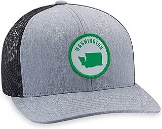 Washington Hat – Washington State Trucker Hat Baseball Cap Snapback Golf Hat (Grey)