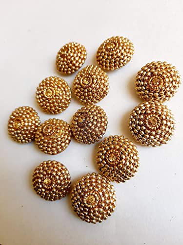 Kavya Fashion Fancy Mix Material Jewellary Buttons For Kurties Gowns Dresses Golden Set Of 12