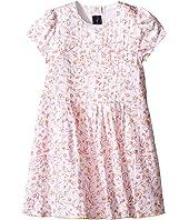 Oscar de la Renta Childrenswear - Floral Ikat Cotton Short Sleeve Pin Tuck Dress (Toddler/Little Kids/Big Kids)