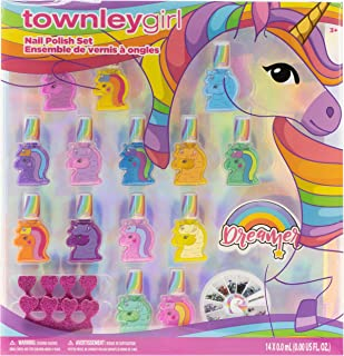 Townley Girl Unicorns and Llamacorns Non-Toxic Peel-Off Nail Polish Set for Girls, Glittery and Opaque Colors, with Nail G...