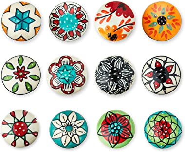 Set of 12 Colorful Multi Design Handmade Ceramic Knobs | Ceramic Cabinet Knobs | Drawer Pulls Ideal for Any Home, Kitchen or