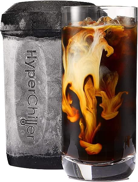 HyperChiller HC2 专利咖啡饮料冷却器一分钟内准备好可重复使用冰茶烈酒酒精果汁 12 5 盎司黑色