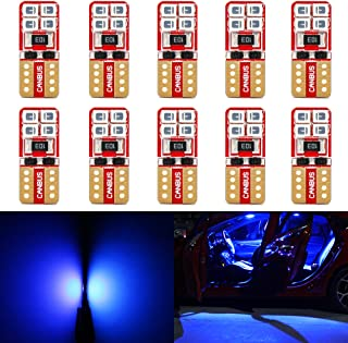 Phinlion Super Bright 2835 SMD LED Bulbs for Car Interior Dome Map Door Courtesy License Plate Lights Wedge T10 168 194 2825 Blue (10 Pack)