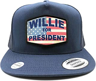 Baseball Cap/Trucker Hat - Willie for President, Navy/Flat Bill, Yupoong Snapback. EXIT82ART.