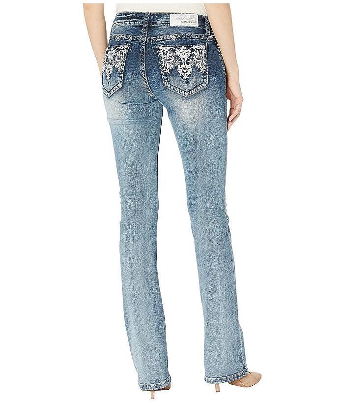 Grace in LA Aztec Motif Jeans in Medium Blue (Medium Blue) Women's Jeans