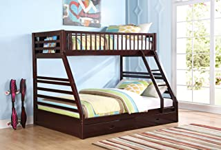 ACME Furniture Jason Bunkbed with Ladder/Rail (Set of 2), X-Large Twin/Queen, Espresso