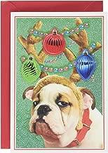 Hallmark Shoebox Funny Christmas Card (Bulldog in Reindeer Antlers)