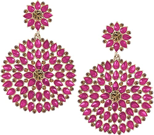 Floral Gold Plated Stone And Diamond Studded Dangler Earrings For Women