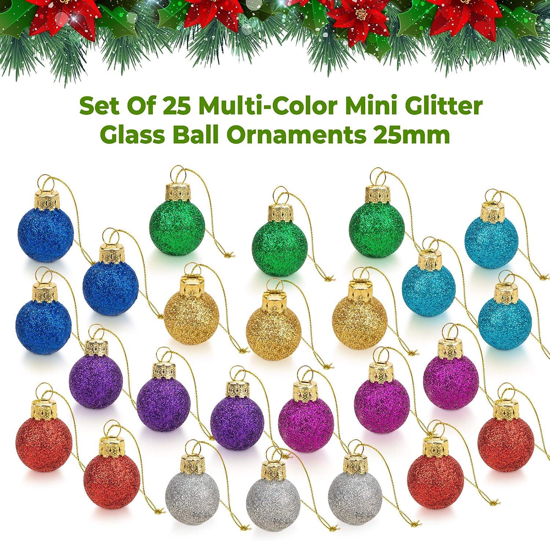 Buy 20 Inch Multicolor Mini Glitter Glass Ball Christmas Ornaments ...