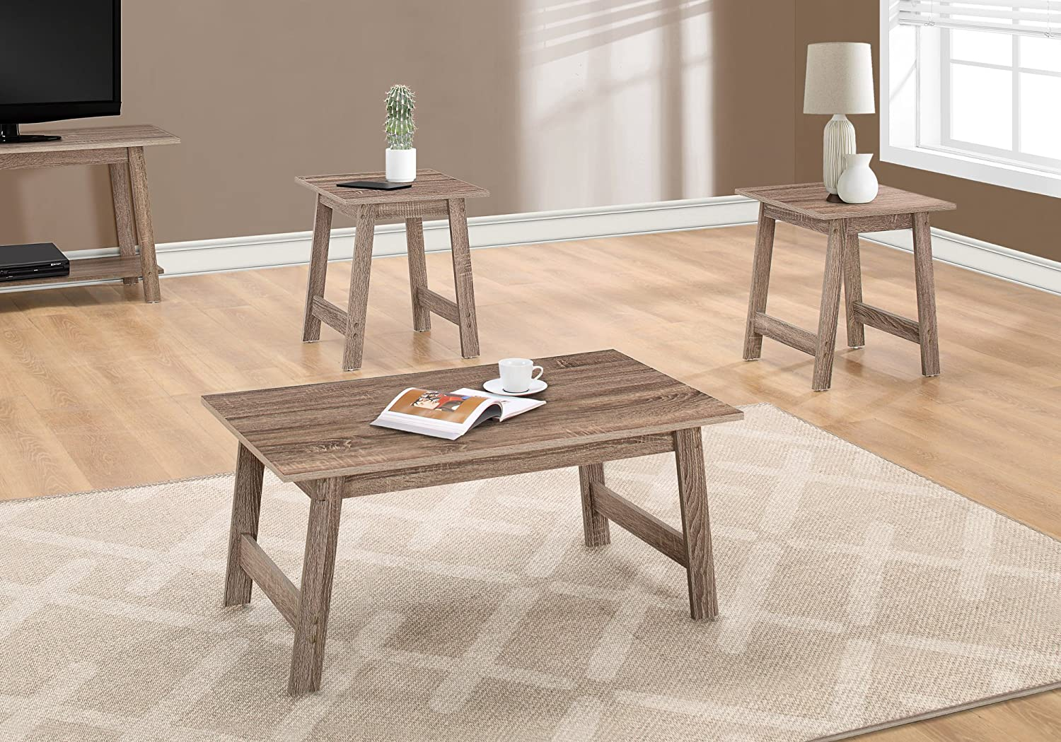Online limited product Monarch Specialties I Max 70% OFF Table Taupe Set SET-3PCS Dark