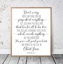 Philippians 4:6-7 Don't Worry About Anything Bible Verse Printable Wall Art Scripture Prints Christian Gifts Bible Verse Prints Kids Wood Pallet Design Wall Art Sign Plaque with Frame wooden sign