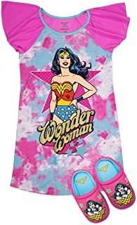 Sponsored Ad - Wonder Woman Girls Pajama Set, Dorm PJs with Matching Slippers, Girl's Size 4-5 to 10-12