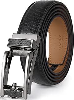 Mens Genuine Leather Ratchet Dress Belt with Open Linxx Leather Buckle, Enclosed in an Elegant Gift Box