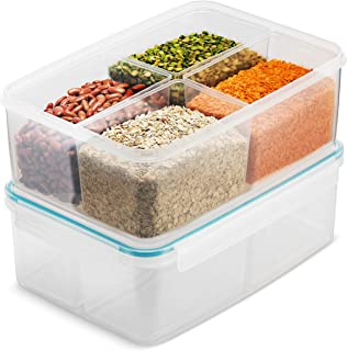 Komax Biokips 175-oz Large Food Storage Container | Set of 1 Rice and Beans Container | Grain, Baking Supply Ingredients Storage Container | 4 Nestable Compartments | BPA-Free & Dishwasher Safe