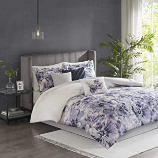 Madison Park Enza Comforter Reversible Floral Flower Watercolor Print Cotton Embroidered Ruffle Pleated Pillow Soft Down Alternative Hypoallergenic All Season Bedding-Set, Queen, Purple