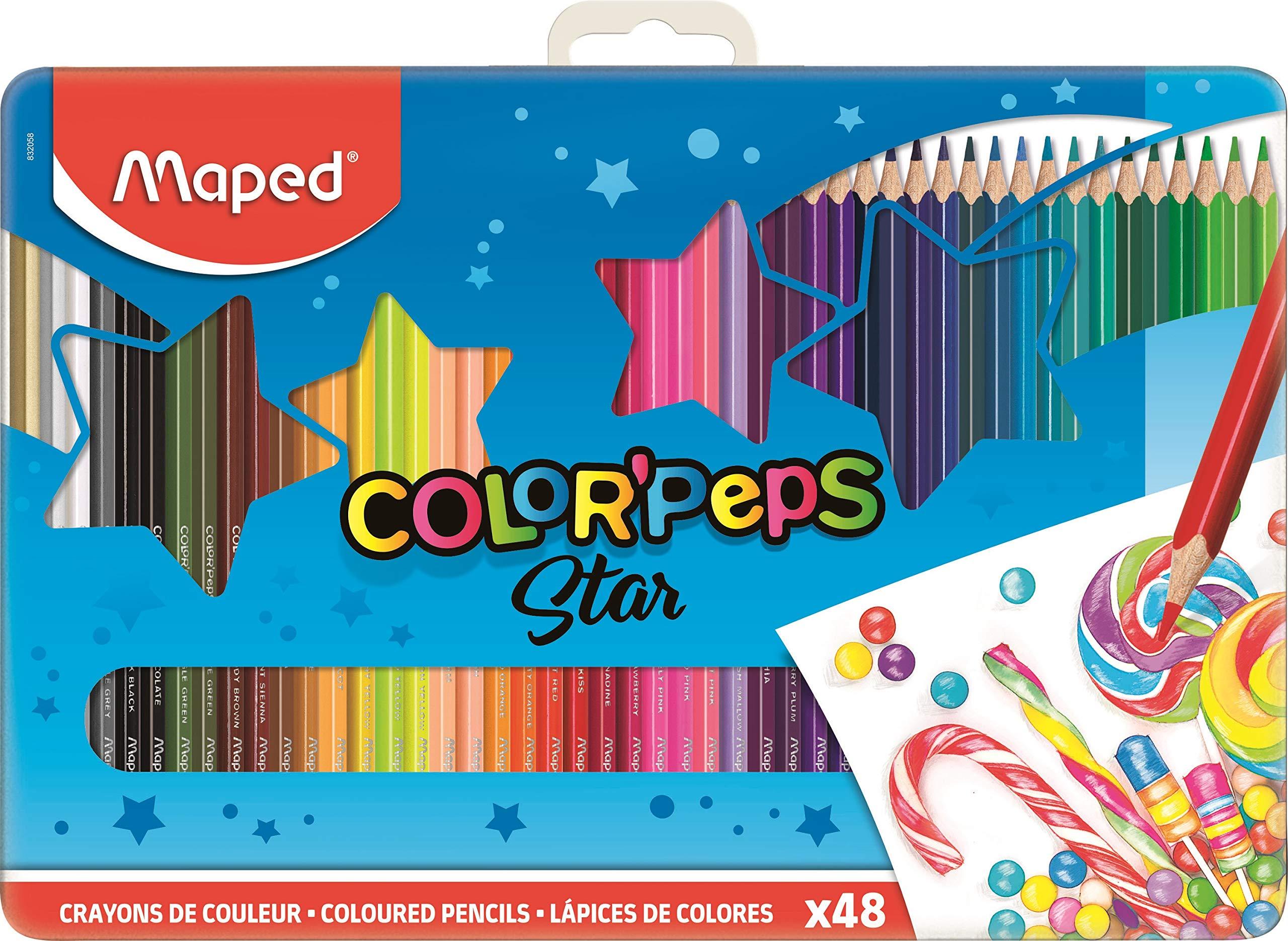 Maped Color Peps 832059 Juego de 48 lápices de color caja Metal: Amazon.es: Oficina y papelería