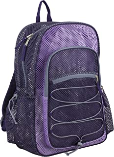 XL Semi-Transparent Mesh Backpack with Comfort Padded Straps and Bungee, Blackberry/Lavender/Soft Silver