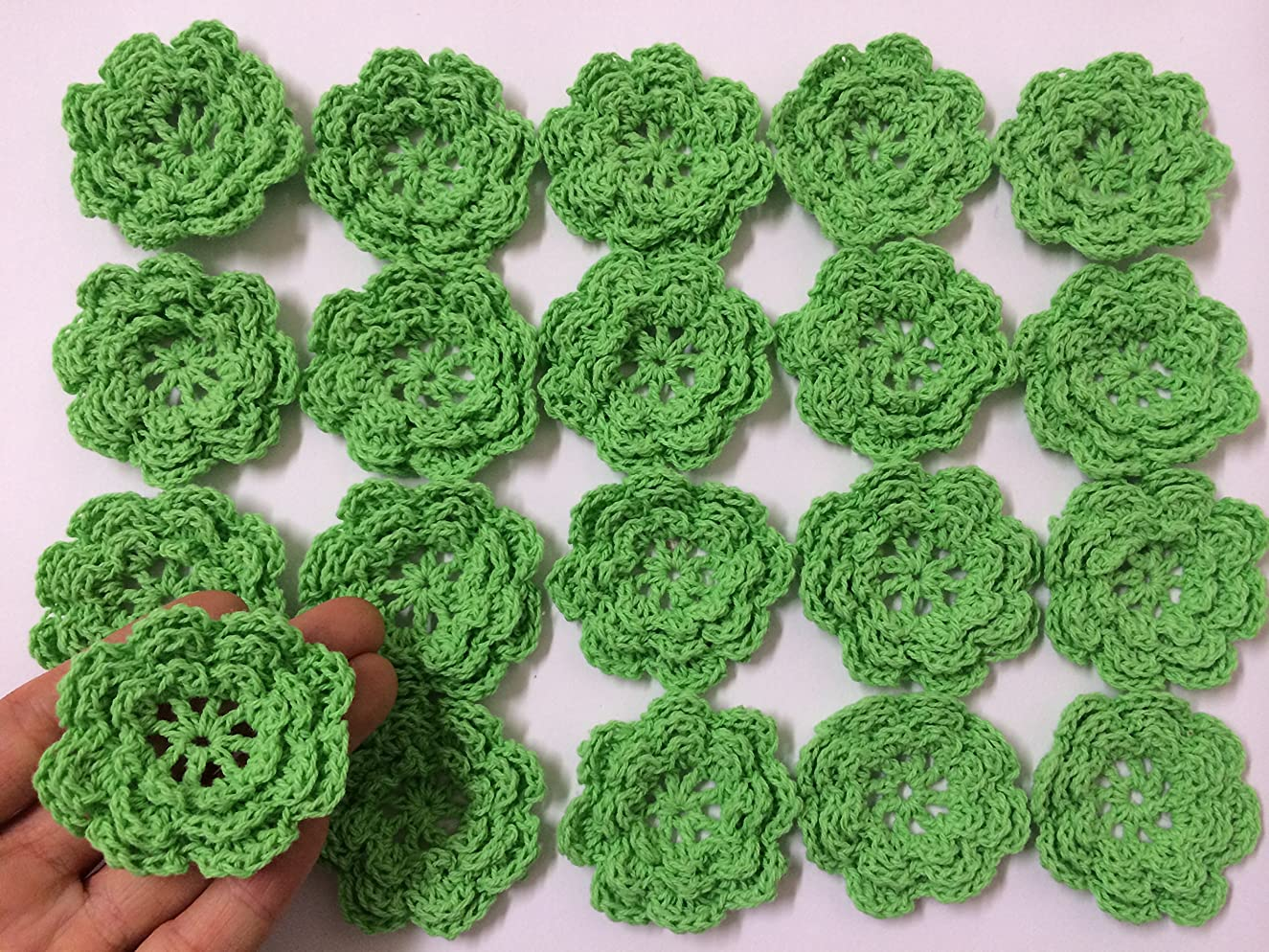 PEPPERLONELY Brand 20PC Green Eight Petals 2 Inch Crocheted Flower Appliques Embellishments