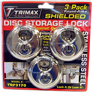 Trimax TRP3170 70 mm Round Stainless Steel Padlock with 10 mm Keyed Alike Shackle, (Pack of 3)
