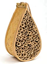 SKOOLIX Outdoor Garden Bee House and Insect Home ~ Ideal Habitat for Orchard, Mason, Solitary, Carpenter, Honey, Other Native Pollinator Bees and Bugs ~ Comes Complete with Bonus Rope Hanger