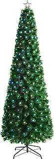 WeRChristmas Fibre Optic Pencil Christmas Tree with Chasing Warm LED Stars, Multi-Colour, 6 feet/1.8m