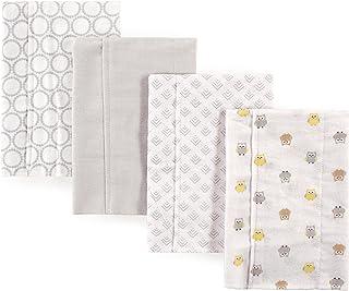 Luvable Friends Unisex Baby Cotton Flannel Burp Cloths, Owl, One Size