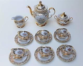 Juego de cafe' in porcelana en timbro de oro