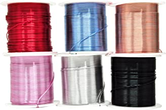 Mandala Crafts Anodized Aluminum Wire for Sculpting, Armature, Jewelry Making, Gem Metal Wrap, Garden, Colored and Soft, Assorted 6 Rolls (22 Gauge, Combo 8)