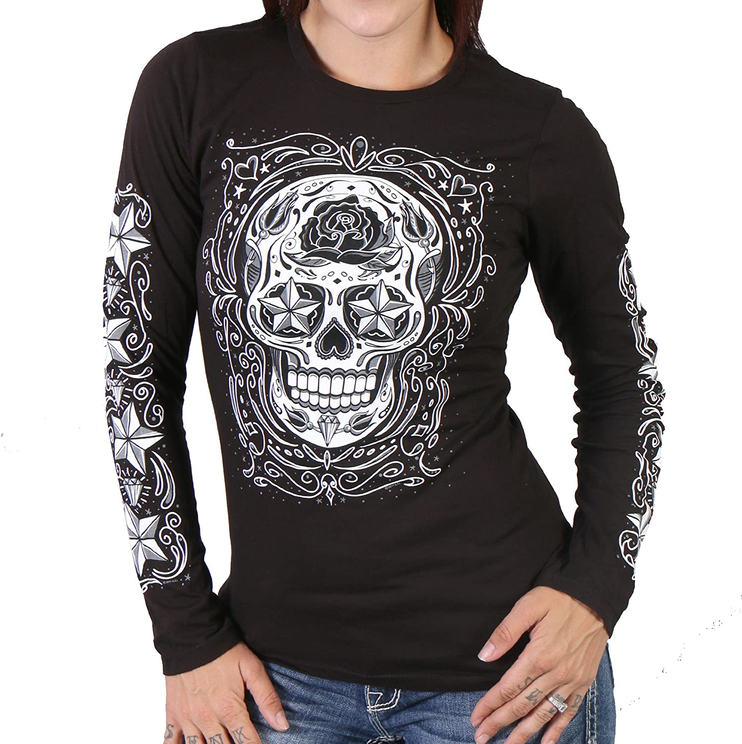 Hot Leather Sugar Skull Long Sleeve Shirt