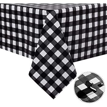 Jaoul Vinyl Oilcloth Waterproof Spillproof Tablecloth 55 102 Classic Simple Style Chic for Summer for Rectangular Table Black Check