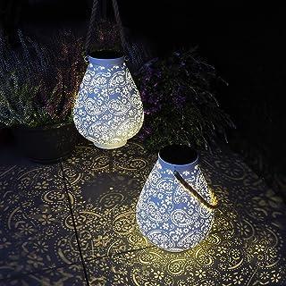Gadgy Lanterna Solare Bianco Opaco | Set Di 2 | Lampade Da Giardino A Led Per Esterno | Lanterne Per Tavolo, Balcone E Ter...