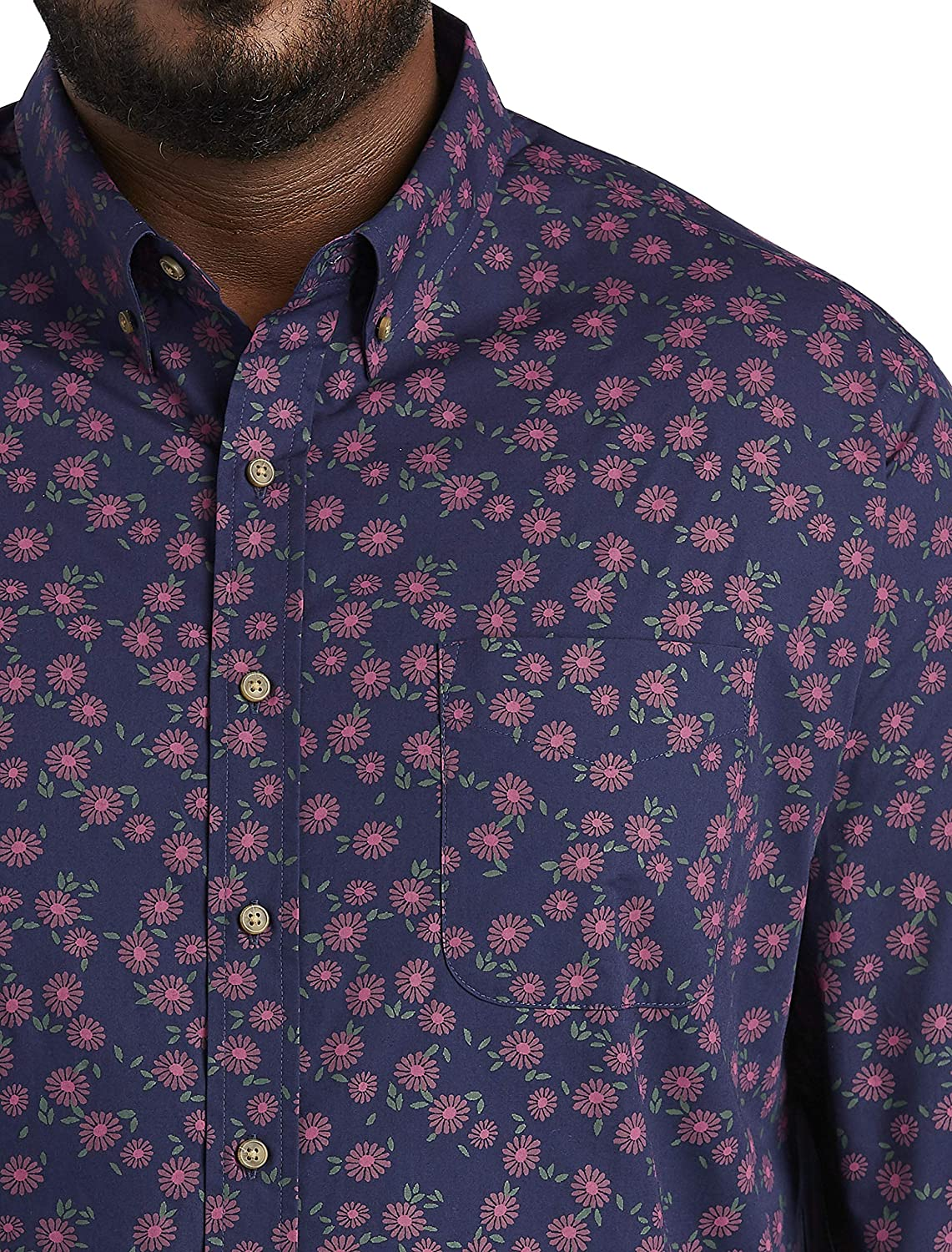 Harbor Bay by DXL Big and Tall Easy-Care Floral Print Sport Shirt, Blue