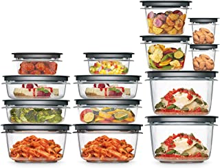 Rubbermaid Meal Prep Premier Food Storage Container, 28 Piece Set, Grey