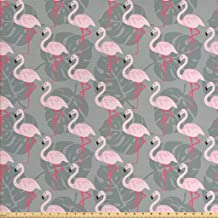 Ambesonne Flamingo Fabric by The Yard, Faded Island Jungle Tree Leaves Pink Birds Hawaii Wildlife Nature Inspirations, Decorative Fabric for Upholstery and Home Accents, 1 Yard, Grey Pink