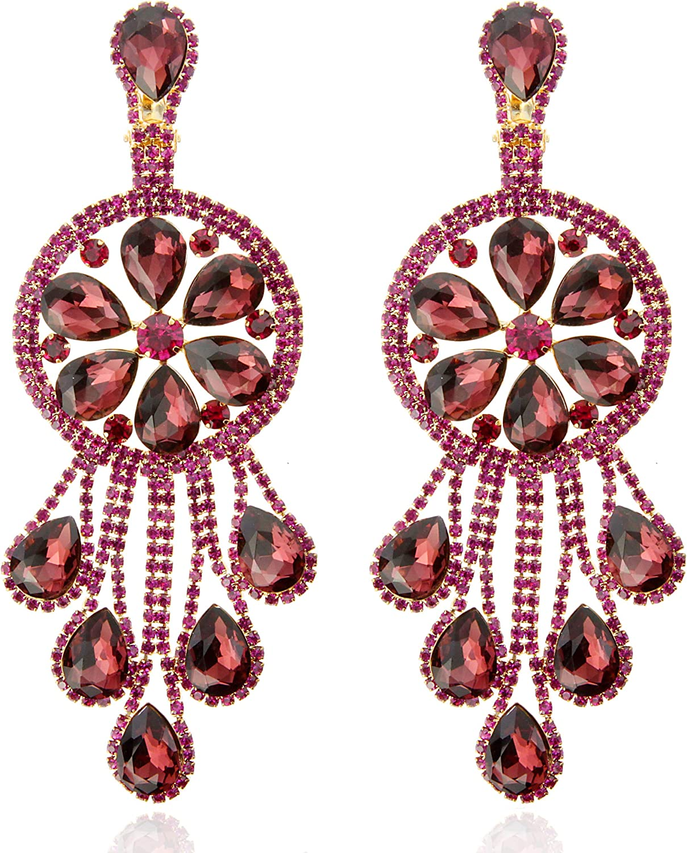 SP Sophia Collection Women's Crystal Teardrop Fringe Dangle Boho Chandelier Clip On Earrings