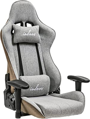 IODOOS ゲーミング座椅子 ゲーミングチェア 170度リクライニング ハイバック 可動肘 ヘッドレストランバーサポート付き 2Dアームレスト クッション 360度回転台 2021シリーズ 布地 ブラウンxグレー 261BAA