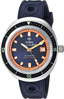 Zodiac Men's Super Sea Wolf 68 Stainless Steel Swiss-Automatic Watch with Rubber Strap, Blue, 23 (Model: ZO9504)